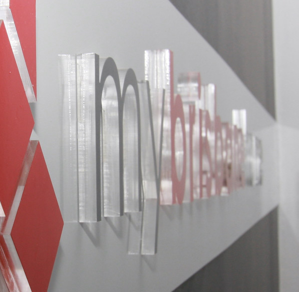 3D sign effect achieved by laser cutting thick acrylic