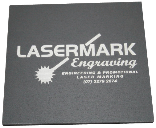 matte black Anodised Aluminium with the Lasermark logo lasered on to the surface
