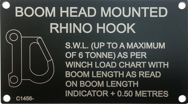 Boom Head mounted Rhino Hook Specifications  tag laser engraved on black anodised aluminium
