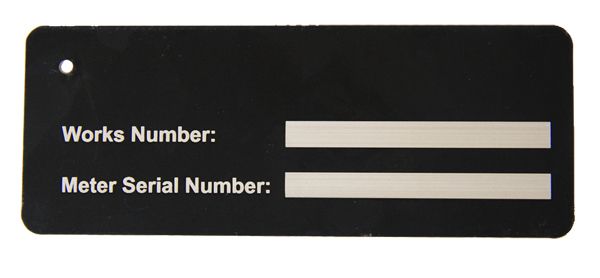 serial number laser engraved on black anodise aluminium
