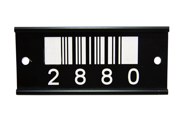 Laser marked barcode on a metal tag