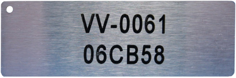 Serial number laser engraved on a aluminium tag