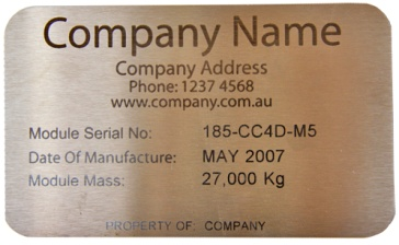 stainless steel name tag that has been laser cut and marked