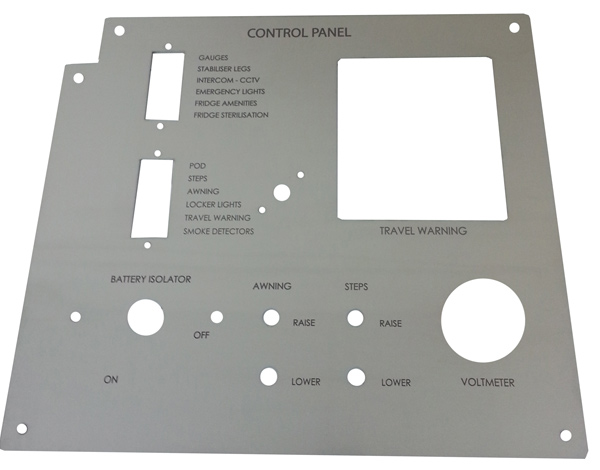 Laser cut stainless steel control panel